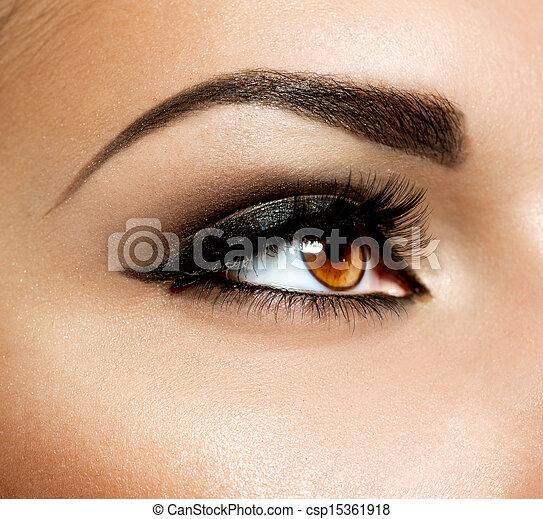 olhos marrons, olho, makeup., maquiagem - csp15361918