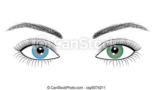 olhos, mulher, ilustração - csp5074211