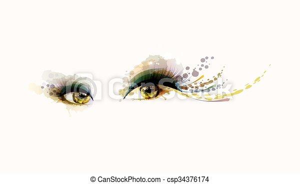 olhos, mulher - csp34376174