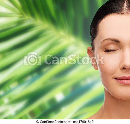 olhos, mulher, jovem, fechado, pacata - csp17901643