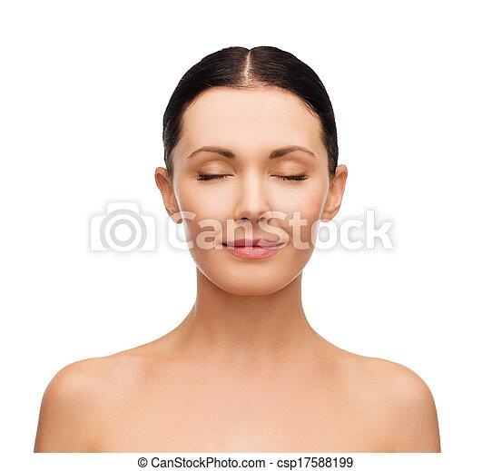 olhos, mulher, jovem, fechado, pacata - csp17588199