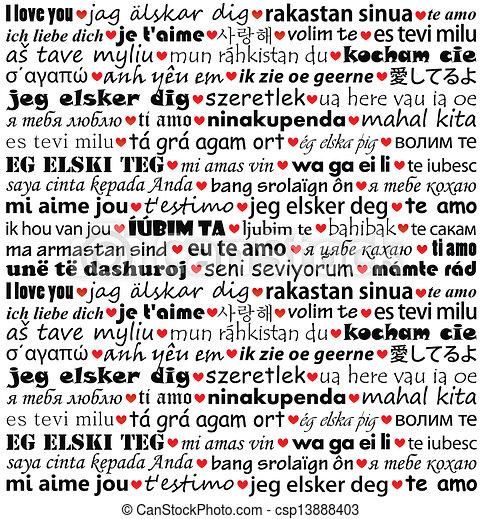 olik, kärlek, dig, språk - csp13888403