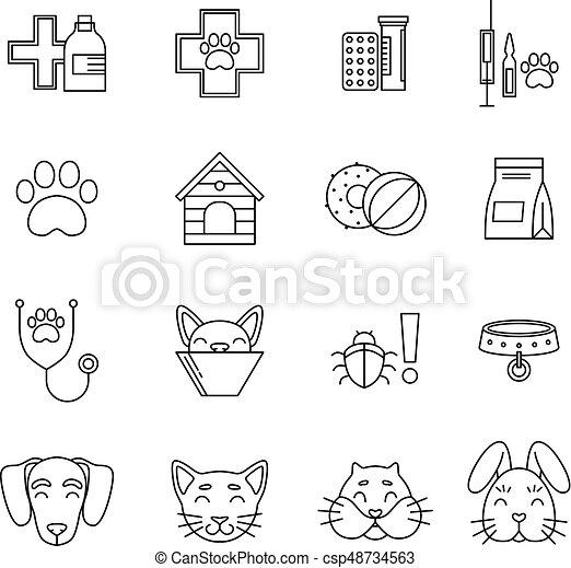 olik, sätta, linjär, ikonen, bilder, isolera, vektor, veterinär, clinic., vit, redskapen, pets., omsorg - csp48734563