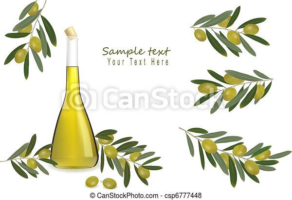 olio, bottiglia, oliva, ogive - csp6777448