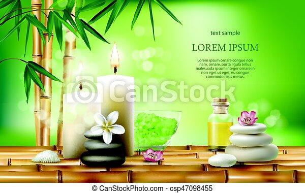 olio, candles., trattamenti, illustrazione, vettore, aromatico, terme, sale, massaggio - csp47098455