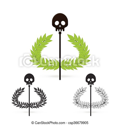 Isolate Olive Branch With Skull Symbol Of Greek God Hades On White