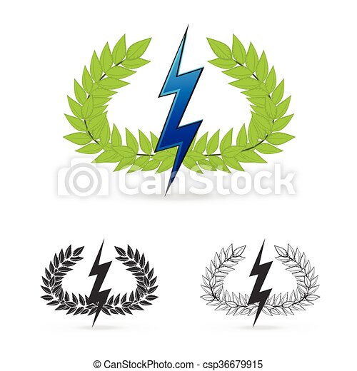 Isolate Olive Branch With Thunder Symbol Of Greek God Zeus On White