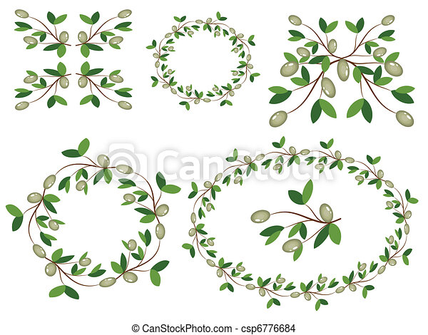 Olive branches decor. - csp6776684