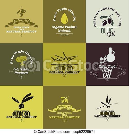 olive, etiketten, set, olie - csp52228571