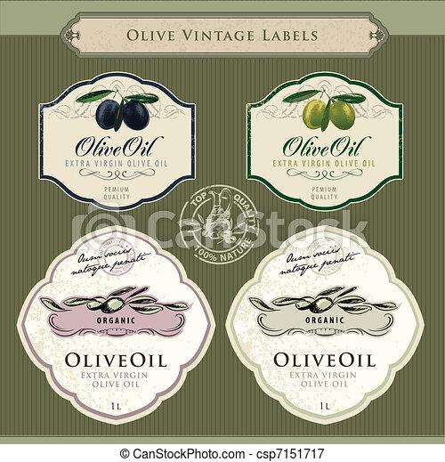 olive, etiketten, set, olie - csp7151717