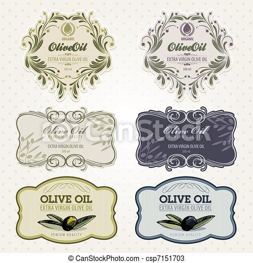 olive, etiketten, set, olie - csp7151703