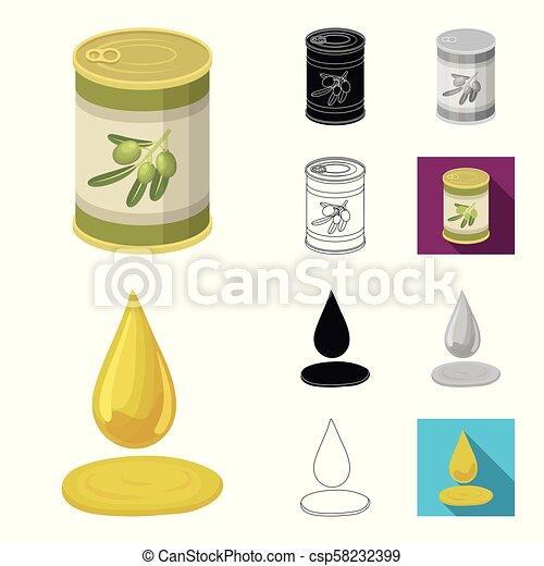 Olive, food cartoon, black, flat, monochrome, outline icons in set collection for design. Olive oil, seasoning vector symbol stock web illustration. - csp58232399