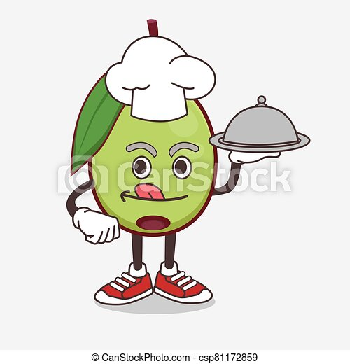 Olive Fruit cartoon mascot character as a Chef with food on tray ready to serve - csp81172859