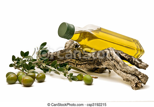 olive oil bottle decorated with olives lying