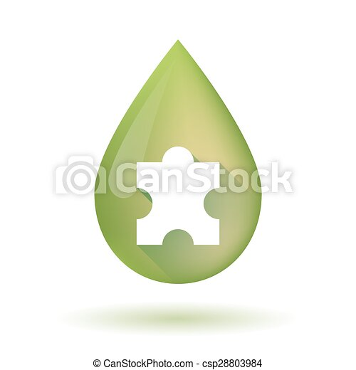 Olive oil drop icon with a puzzle piece - csp28803984