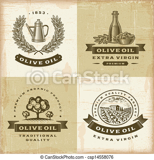 olive, ouderwetse , etiketten, set, olie - csp14558076