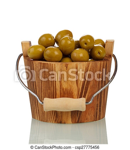 Olives in wooden bowl - csp27775456