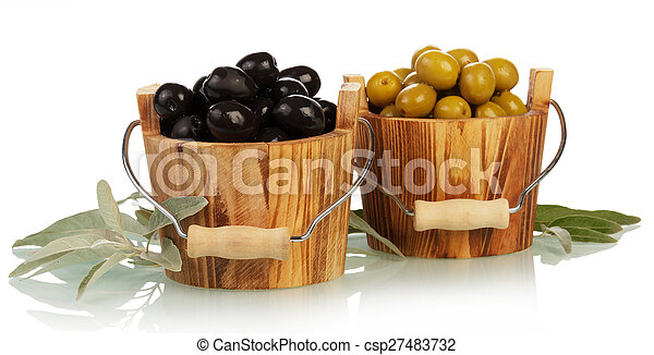 Olives in wooden bowl - csp27483732