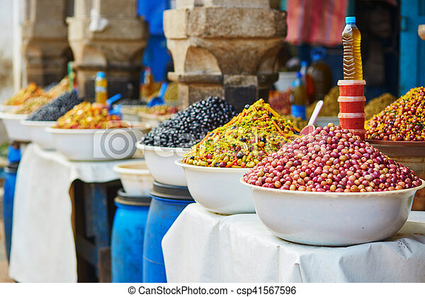 Olives on Moroccan market (souk) in Essaouira, Morocco - csp41567596