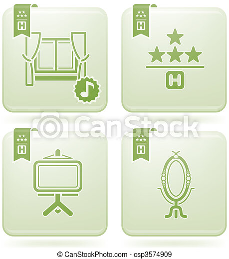 Olivine 2D Squared Icons Set: Hotel - csp3574909