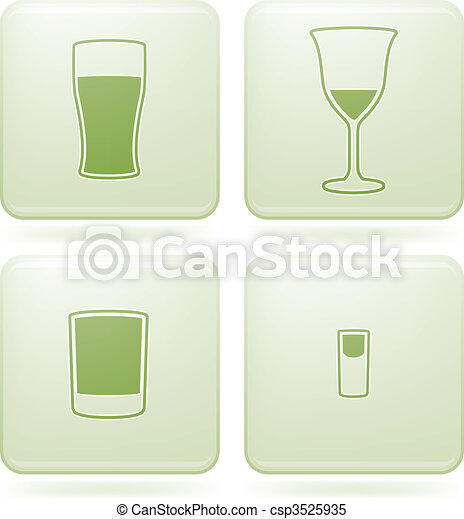 Olivine Square 2D Icons Set: Alcohol glass - csp3525935
