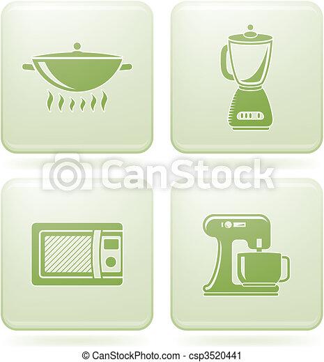 Olivine Square 2D Icons Set: Kitchen Utensils - csp3520441