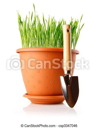 Hierba verde en la olla con herramienta de pala - csp3347046
