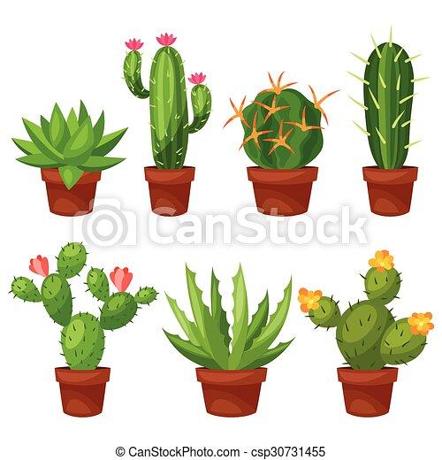 Colección de cactus abstractos en maceta - csp30731455