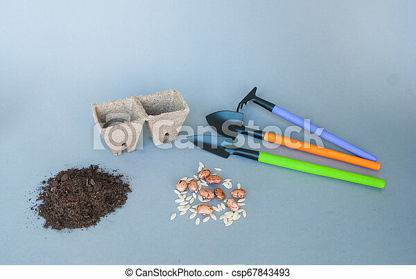 Cazuelas de avena con herramientas de jardín y suelo - csp67843493