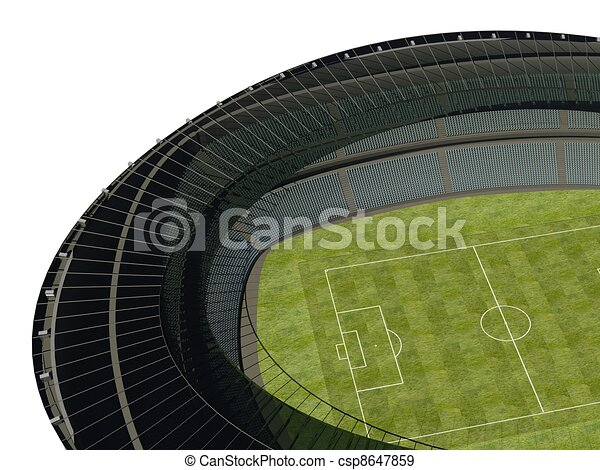 olympic stadium with soccer field on dark background rh canstockphoto com Olympic Sports Coloring Pages Olympic Flag Clip Art
