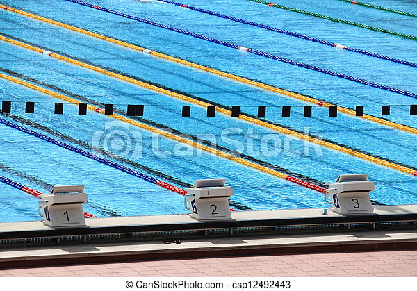 Starting Blocks In A Olympic Swimming Pool Stock Photo