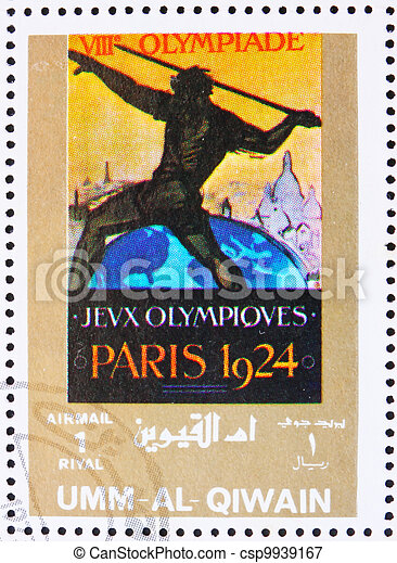 olympique, 1972:, timbre, -, 1972, al-quwain, france, paris, jeux, passé, umm, 1924, environ, spectacles, imprimé - csp9939167