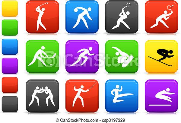 olympisch, pictogram, verzameling, competative, sporten - csp3197329