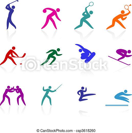 olympisch, pictogram, verzameling, competative, sporten - csp3618260