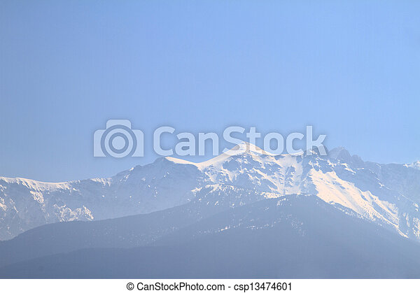 Olympus Mountain covered by snow in Greece - csp13474601