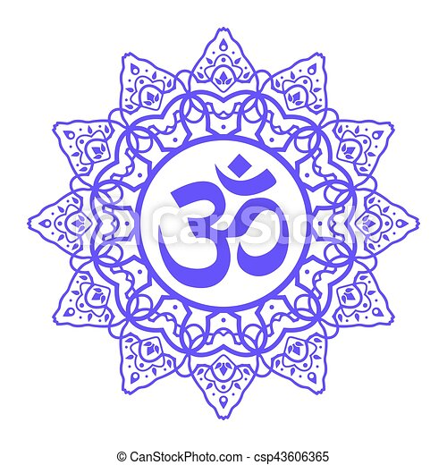 Om Aum Symbol Om Symbol Aum Sign With Decorative Indian Ornament