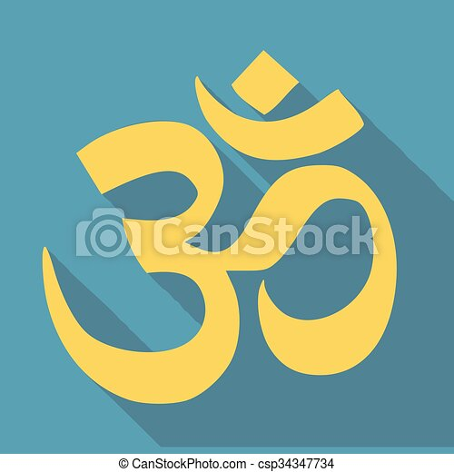 Om Aum Symbol Of Hinduism Flat Icon For Apps And Websites