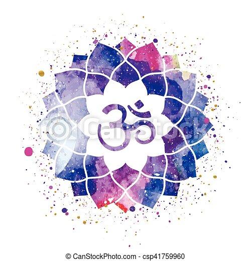 Om sign in lotus flower rainbow watercolor texture and splash om sign in lotus flower csp41759960 mightylinksfo