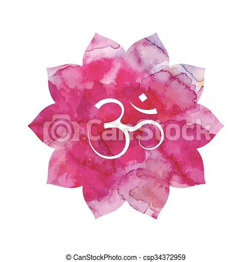 Om Sign In Lotus Flower Pink Watercolor Texture Vector Isolated