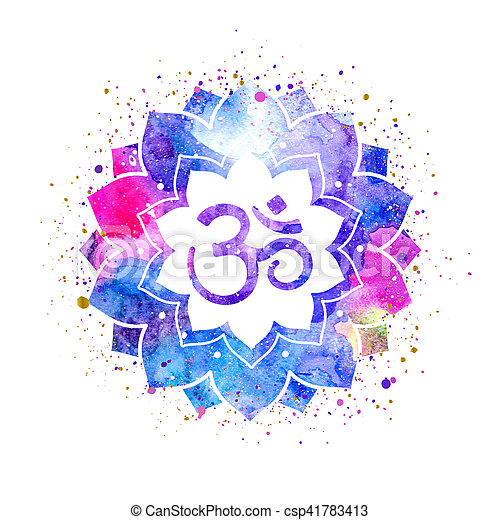 Om sign in lotus flower. rainbow watercolor texture and ...