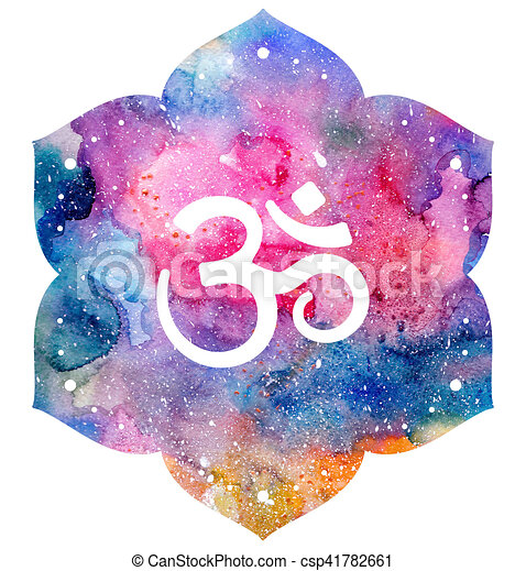 Om Sign In Lotus Flower Rainbow Watercolor Texture Element