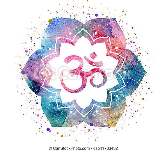 Om sign in lotus flower rainbow watercolor texture and splash om sign in lotus flower csp41783432 mightylinksfo
