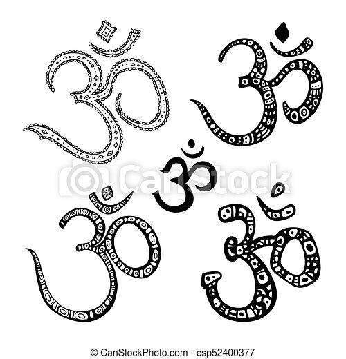 Om Symbol Aum Ohm Ohm Om Aum Symbol Vector Hand Drawn
