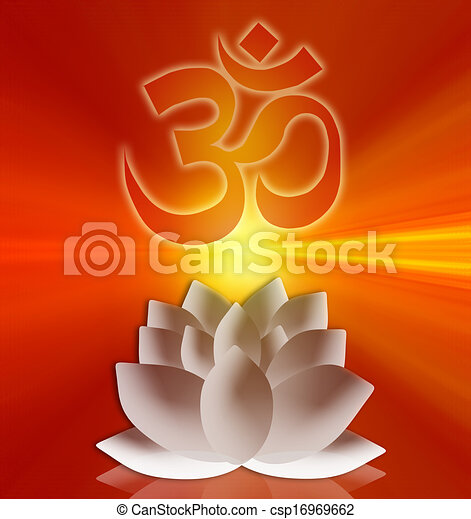 Om symbol with lotus flower om symbol csp16969662 mightylinksfo