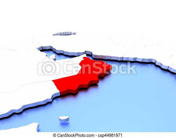 Simple Elegant Line Art : Oman on globe in red color simple elegant political