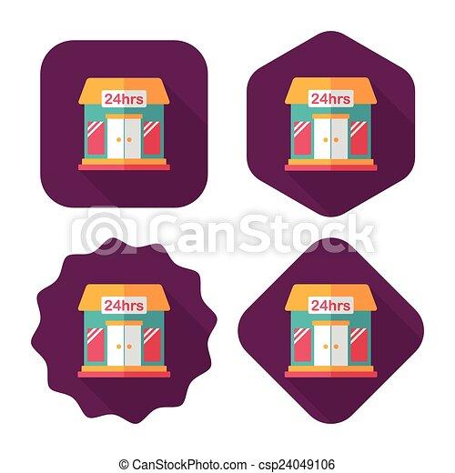 ombre, bâtiment, icône, eps10, magasin, commode, plat, long - csp24049106