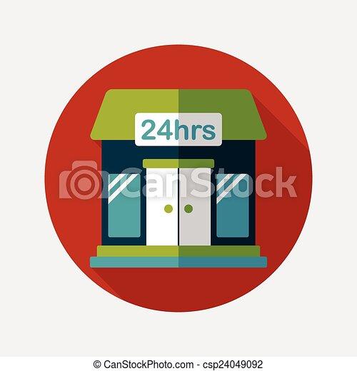 ombre, bâtiment, icône, eps10, magasin, commode, plat, long - csp24049092