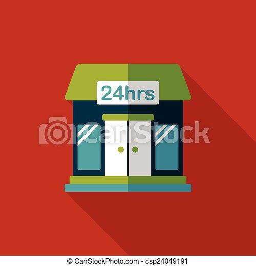 ombre, bâtiment, icône, eps10, magasin, commode, plat, long - csp24049191