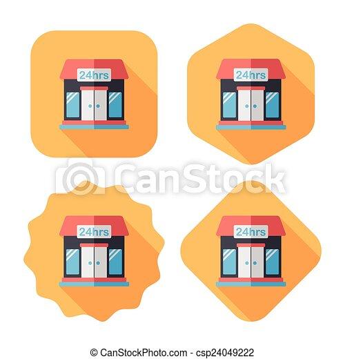 ombre, bâtiment, icône, eps10, magasin, commode, plat, long - csp24049222