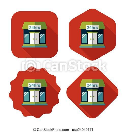 ombre, bâtiment, icône, eps10, magasin, commode, plat, long - csp24049171